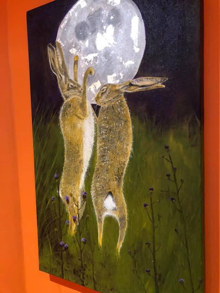 Boxing Hares Acrylic & Silver Leaf