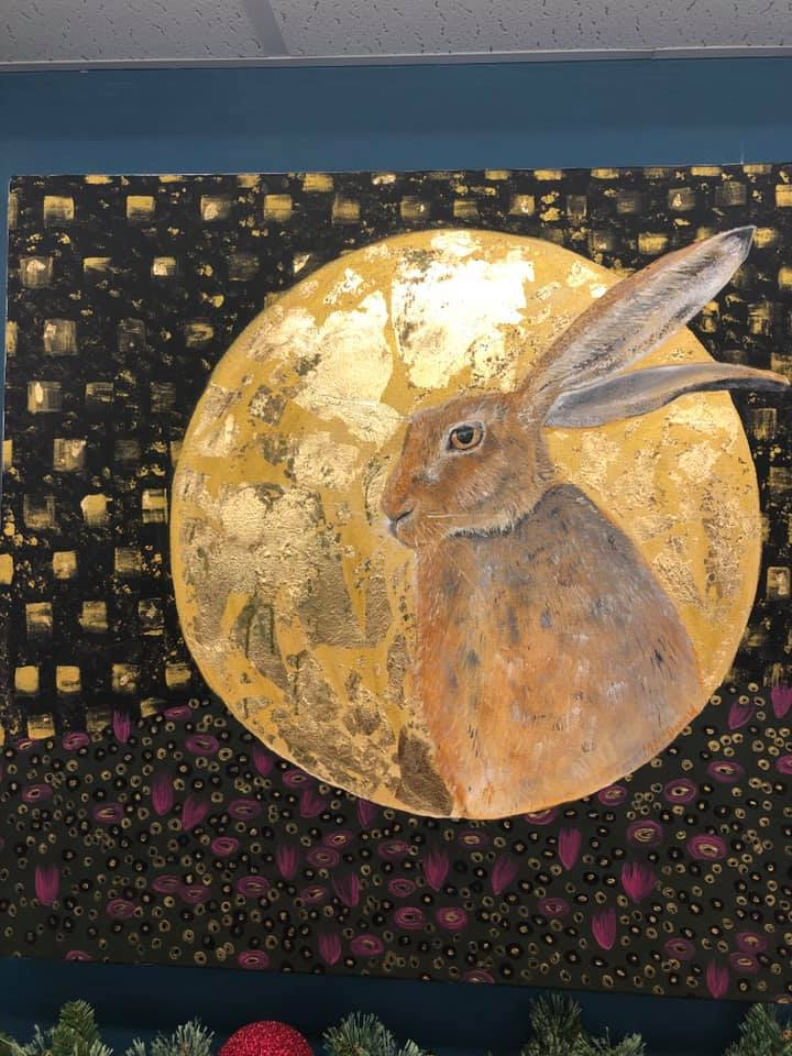 Golden Hare Acrylic & Gold Leaf