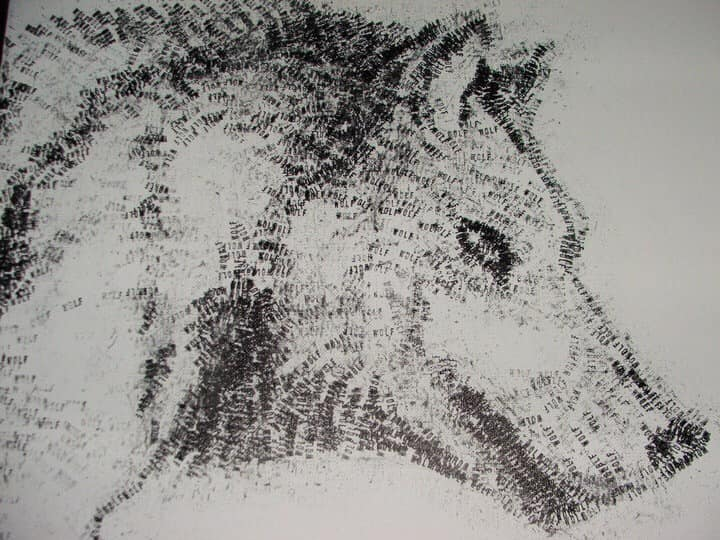 Wolf Text Hand Printed